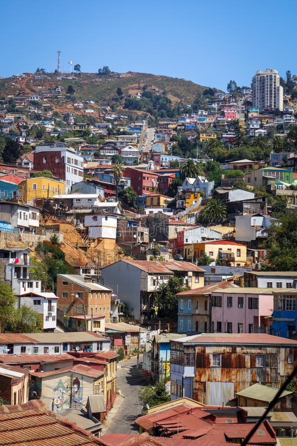Paesaggio urbano di Valparaiso, Cile fotografia stock libera da diritti