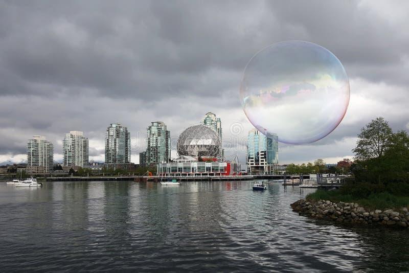 Paesaggio urbano di Vancouver del bene immobile Concetto: bolla di alloggio dentro BC immagini stock libere da diritti