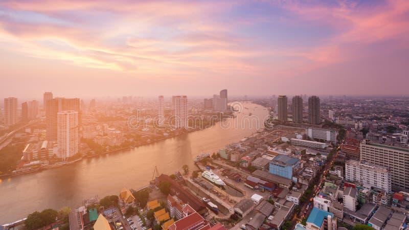 Paesaggio urbano di vista aerea di Bangkok Tailandia fotografie stock libere da diritti