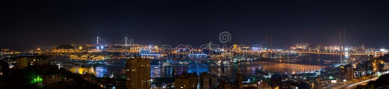Paesaggio urbano di Vladivostok, vista di notte. fotografia stock