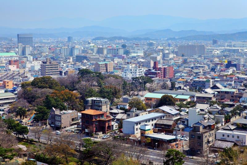 Paesaggio urbano di Wakayama nel Giappone fotografia stock libera da diritti