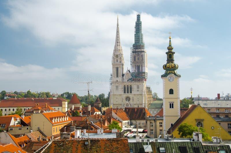 Paesaggio urbano di Zagabria immagine stock