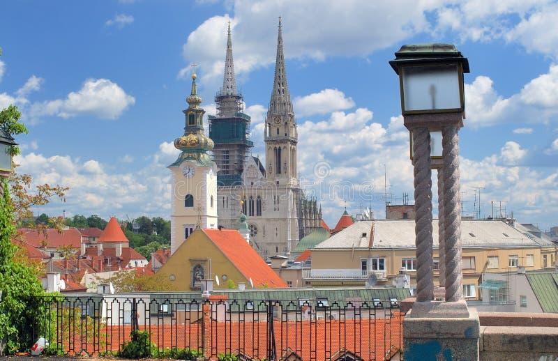 Paesaggio urbano di Zagabria immagini stock libere da diritti