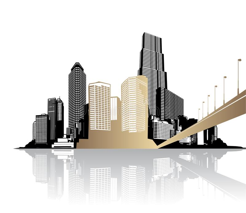 Paesaggio urbano dorato con i grattacieli illustrazione vettoriale