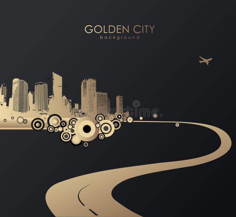 Paesaggio urbano dorato con i grattacieli illustrazione di stock
