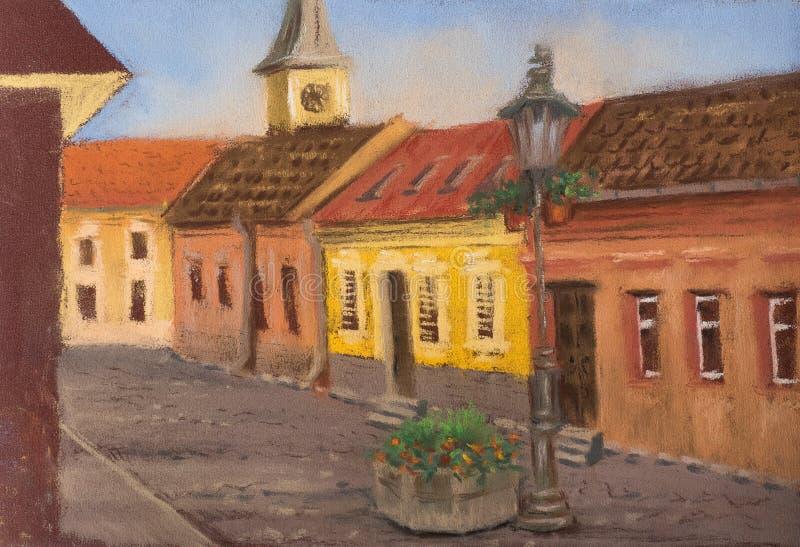 Paesaggio urbano europeo tradizionale Vecchia via europea con le case antiche, i tetti piastrellati, la chiesa e le iluminazioni  royalty illustrazione gratis