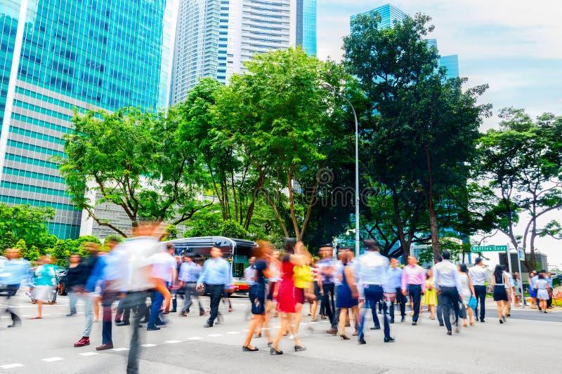 Paesaggio urbano, folla, gente di affari, Singapore fotografia stock