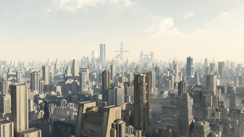 Paesaggio urbano futuristico illustrazione di stock