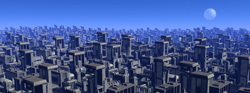 Paesaggio urbano futuristico - 3D rendono illustrazione di stock