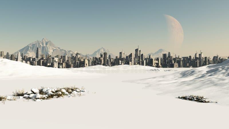 Paesaggio urbano futuristico nella neve di inverno royalty illustrazione gratis