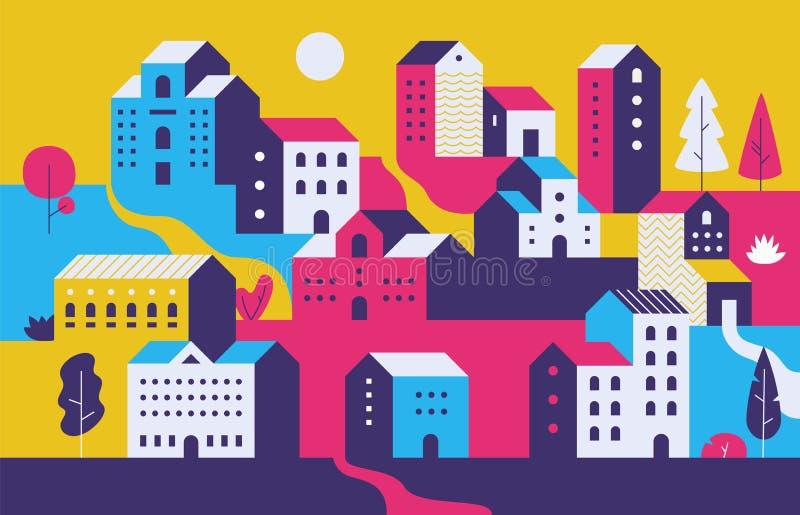 Paesaggio urbano minimo Case di città piane con l'ambiente della natura di eco, costruzioni geometriche moderne Fondo di paesaggi illustrazione vettoriale