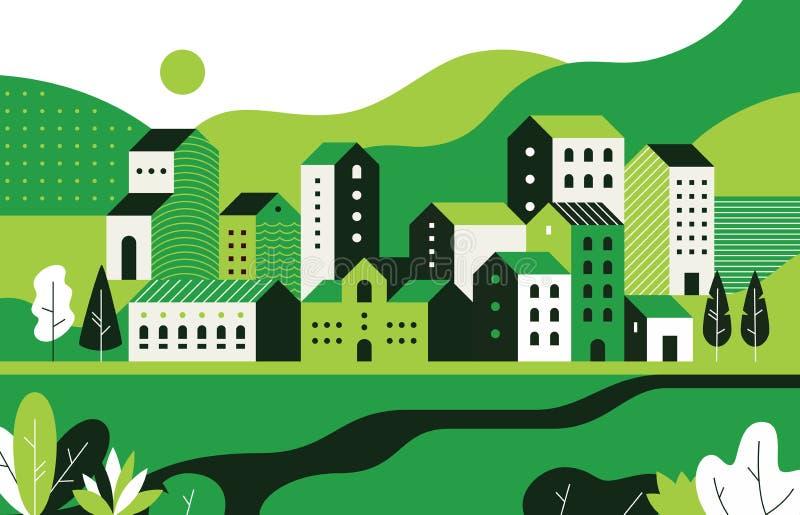 Paesaggio urbano minimo Paesaggio piano con le costruzioni e l'ambiente geometrici della natura, modello della via della città La royalty illustrazione gratis