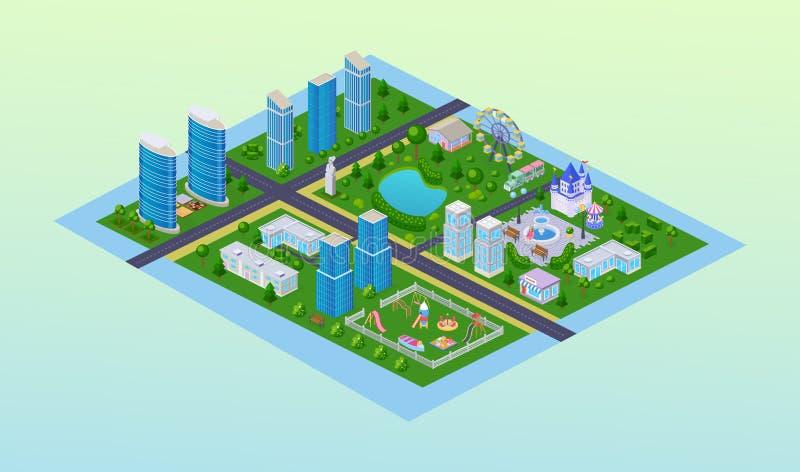 Paesaggio urbano moderno, alti grattacieli di costruzione, campo da giuoco, asilo, parco illustrazione vettoriale