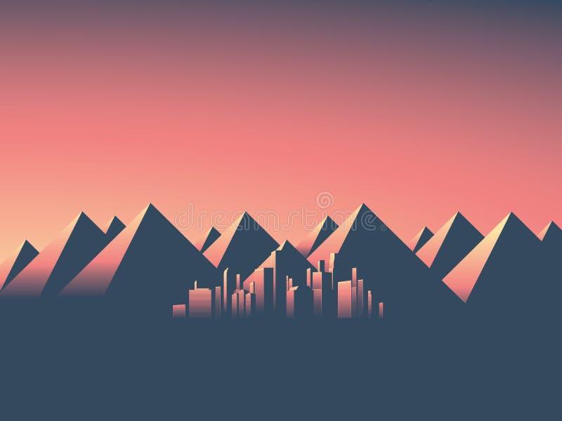 Paesaggio urbano moderno con l'orizzonte dei grattacieli nei colori di tramonto Fondo del paesaggio della montagna con la gamma d illustrazione di stock