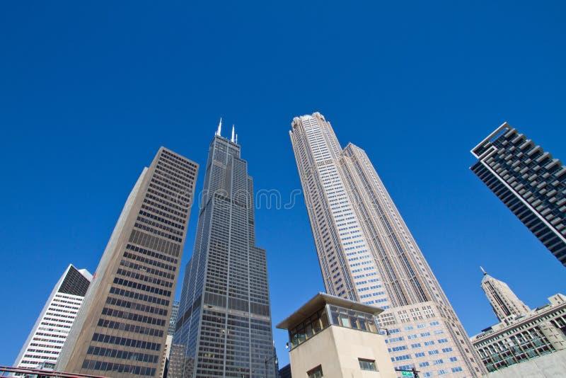 Paesaggio urbano moderno e vecchio di Chicago del centro delle costruzioni fotografie stock libere da diritti