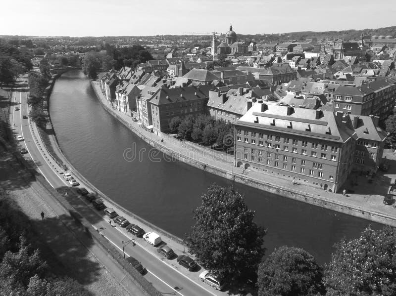 Paesaggio urbano monocromatico di Namur come visto dalla cittadella di Namur immagini stock libere da diritti