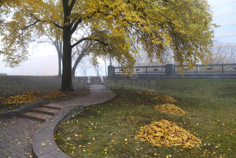 Paesaggio urbano nella nebbia fotografie stock libere da diritti