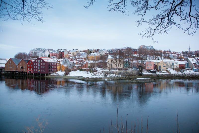 Paesaggio urbano Norvegia di Trondeim fotografia stock