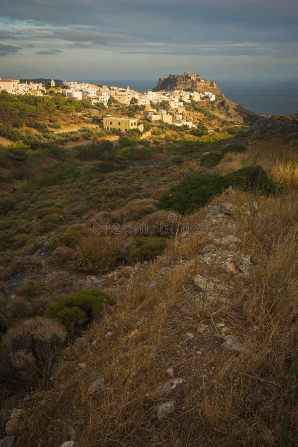Paesaggio urbano scenico, Cerigo, Grecia fotografie stock
