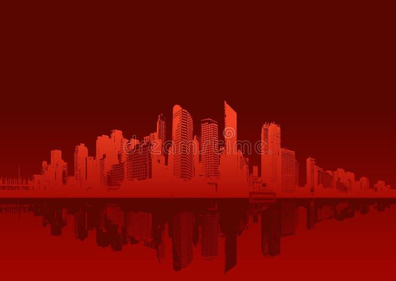 Download Paesaggio Urbano Su Priorità Bassa Rossa. Illustrazione Vettoriale - Illustrazione di panorama, cielo: 3875072