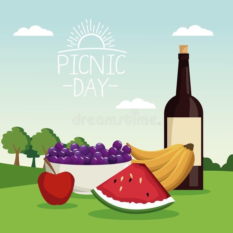 Paesaggio variopinto di scena del manifesto del giorno di picnic con il vino della bottiglia e dei frutti in erba illustrazione di stock
