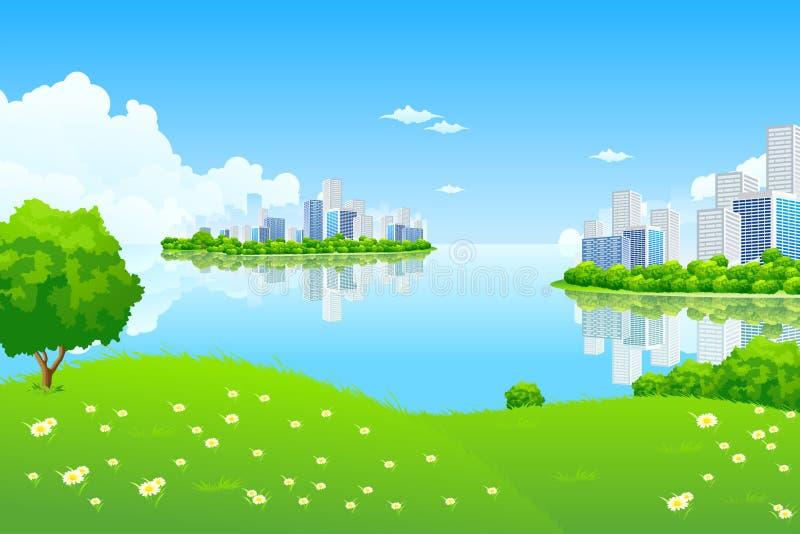 Paesaggio verde della città illustrazione di stock