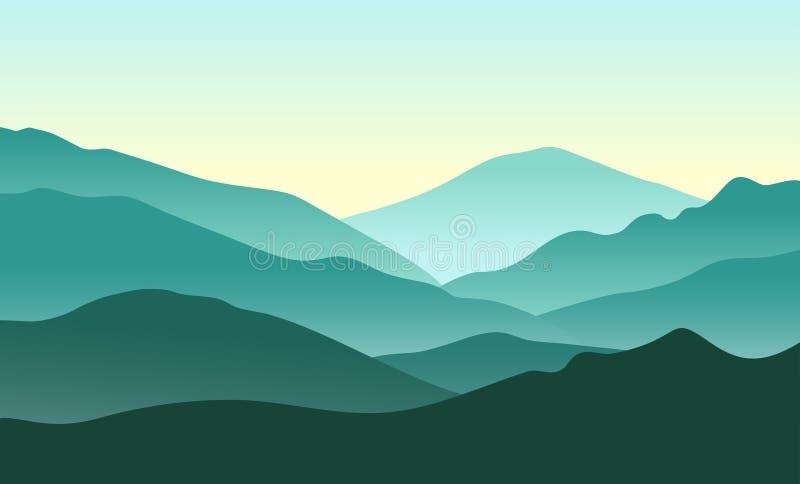 Paesaggio verde delle montagne Illustrazione di vettore della natura illustrazione vettoriale