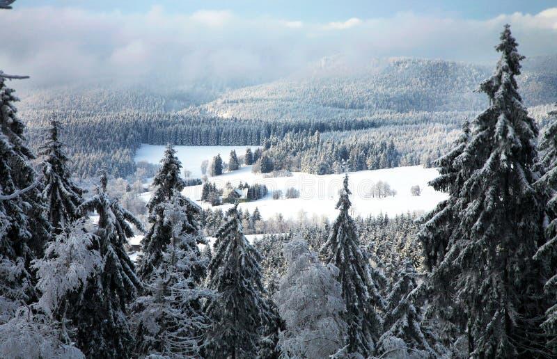 Paesaggio vicino al villaggio di Pasterka in Polonia fotografia stock