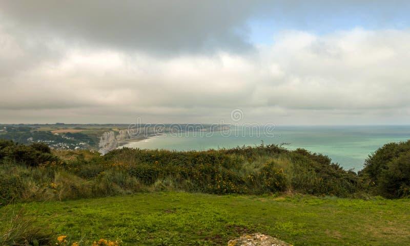 Paesaggio vicino a Fecamp sulla costa del Manica in Normady, Francia immagine stock libera da diritti