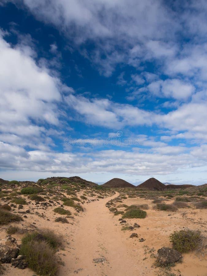 Paesaggio vulcanico in Lobos di Los, isole Canarie immagini stock