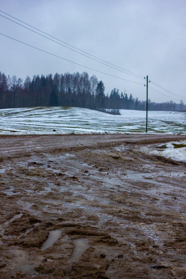 Paesaggio vuoto della campagna nel giorno di inverno nuvoloso con neve che coprono parzialmente il terreno e la nebbia, le pozze  fotografia stock libera da diritti