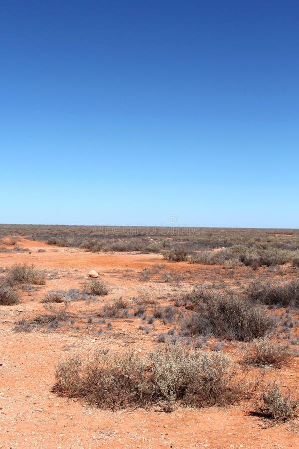 Paesaggio vuoto e treeless nell'entroterra australiana fotografia stock