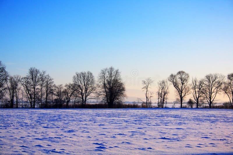 paese blu di inverno immagine stock