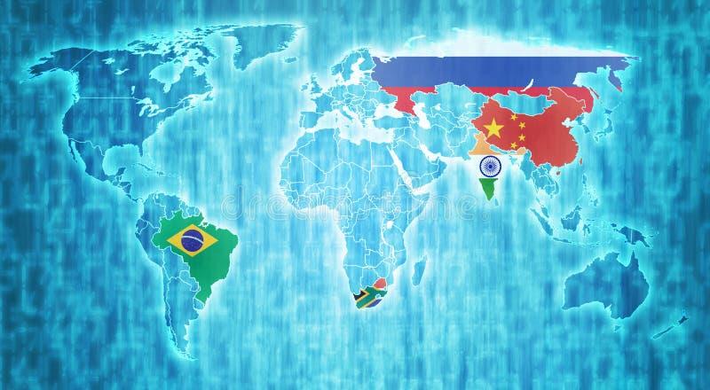 Paesi di BRICS sulla mappa di mondo illustrazione di stock