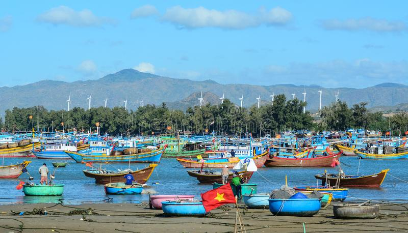 Paesino di pescatori in Binh Thuan, Vietnam fotografia stock