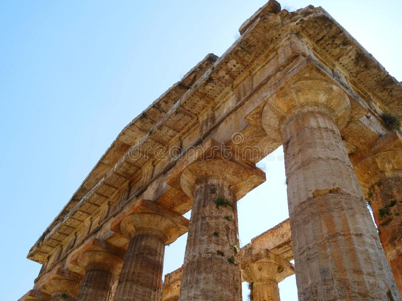 Paestum希腊寺庙  免版税库存照片
