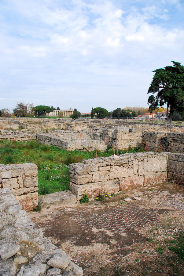 Paestum mosaic floor ruins