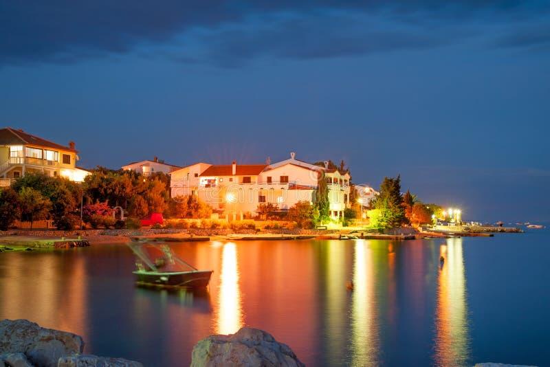 Pag island coastline. Nighttime view of Mandre village on Pag island, Croatia royalty free stock image