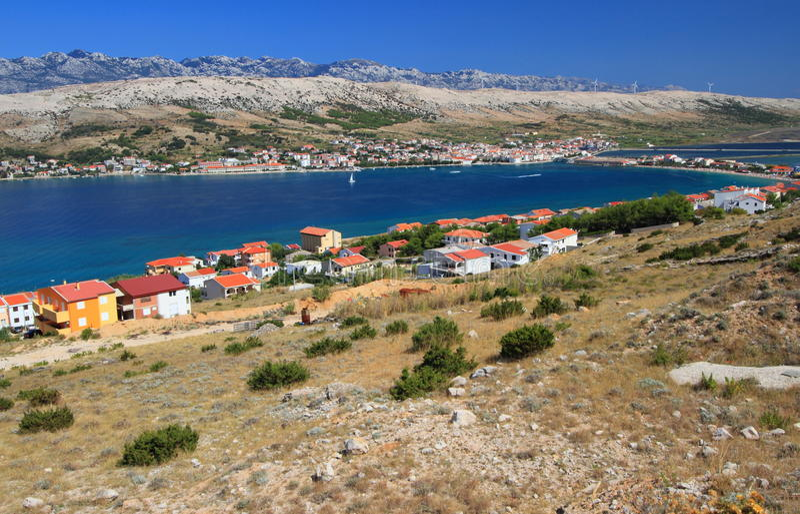 Pag island and village, croatia, adriatic sea royalty free stock image