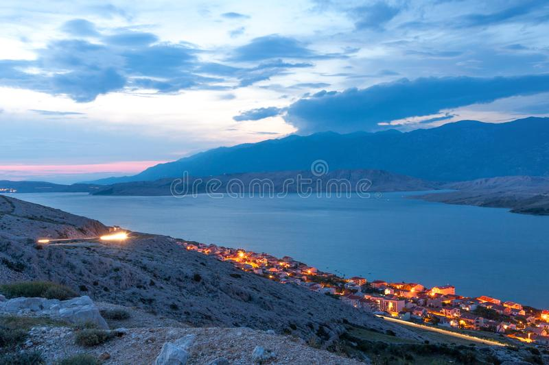 Pag town view stock photo