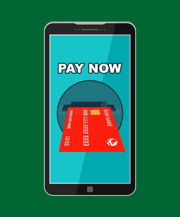 Paga del botón ahora en la pantalla del smartphone stock de ilustración