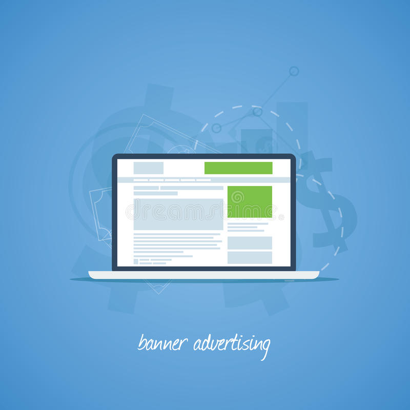 Paga del sito Web per concetto di pubblicità dell'insegna di clic illustrazione vettoriale
