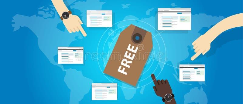 Paga dell'illustrazione degli annunci del prezzo da pagare del buono di web di servizio online del software libero per introduzio illustrazione vettoriale