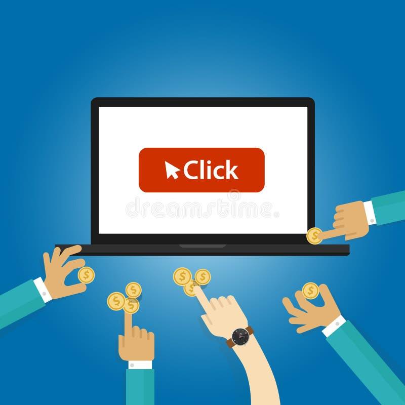 Paga per annunci di clic che offrono pubblicità d'acquisto del PPC del sito Web di traffici dell'asta illustrazione di stock