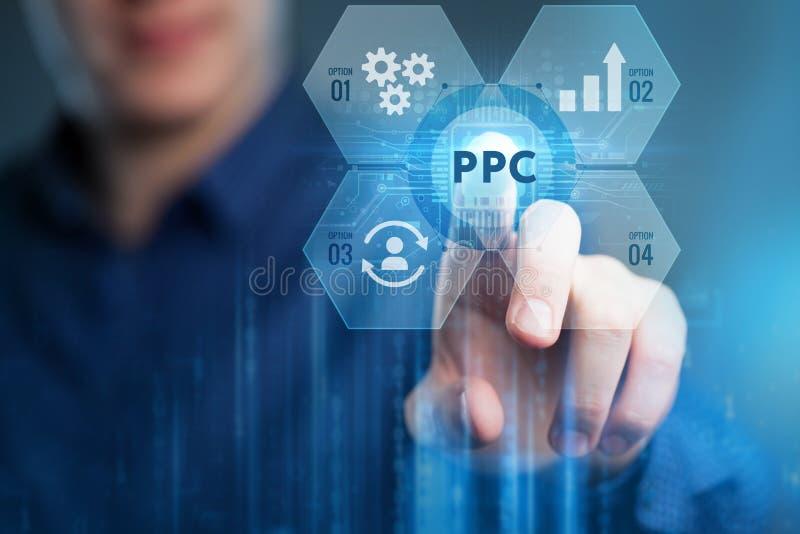 Paga per concetto commercializzante digitale di Internet di tecnologia di pagamento di clic dello schermo virtuale PPC fotografia stock libera da diritti