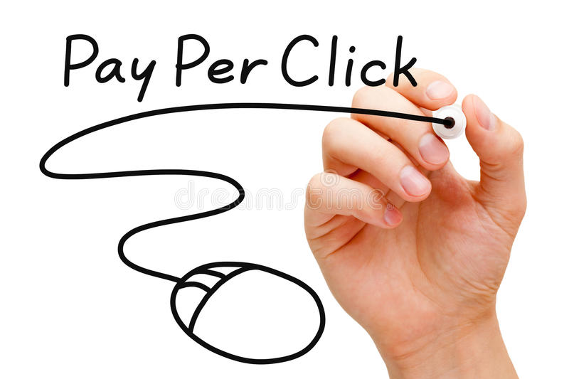 Paga per concetto del mouse di clic fotografia stock libera da diritti