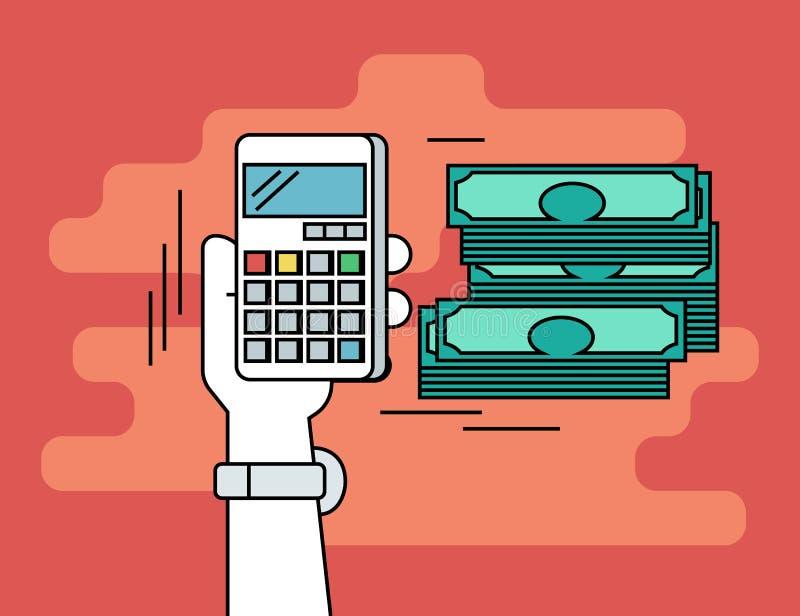 Paga per scatto Linea piana illustrazione di contorno di soldi calcolatori royalty illustrazione gratis