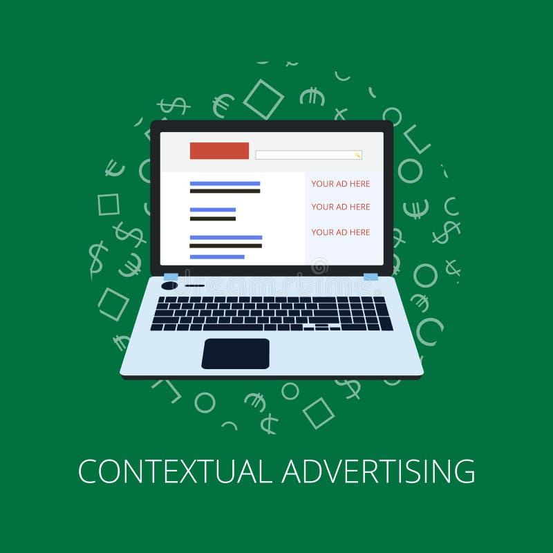 Paga por bandera plana del estilo del tecleo Publicidad de Internet, concepto en línea del márketing Ejemplo moderno para el dise ilustración del vector