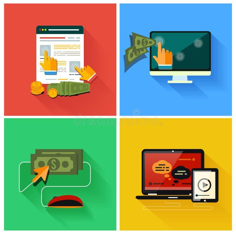 Download Paga Por Modelo De La Publicidad De Internet Del Tecleo Ilustración del Vector - Ilustración de monitor, mano: 42433056