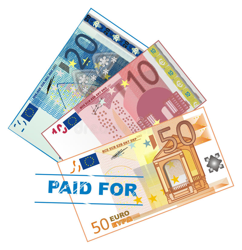 Pagado y dinero ilustración del vector
